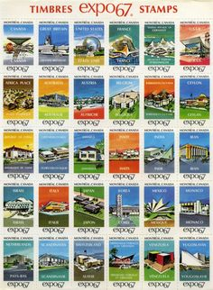 Expo 67 Pavilion Stamps not for mailing. Expo 67 Montreal, Montreal Ville, Montreal Quebec, Quebec City, Yeosu, Art Deco Posters, Vintage Posters, Niagara Falls Pictures, Ontario