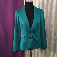 ✳️New Item! Long sleeve blazer Cute Aqua blazer with black cuffs and buttons has two side pockets very chic. ☺️ Stooshy Jackets & Coats Blazers