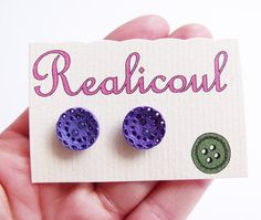 Vintage button earrings retro purple silver studs by realicoul, £4.00