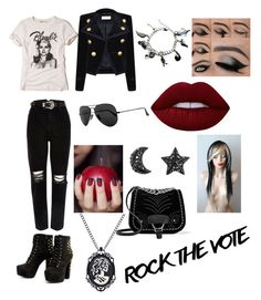 """""""Rock + Emo ✌"""" by rosemary-telesco ❤ liked on Polyvore featuring Hollister Co., Yves Saint Laurent, River Island, Ray-Ban, Lime Crime and Miu Miu"""