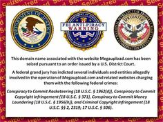 """This domain name associated with the website Megaupload.com has been seized pursuant to an order issued by a U.S. District Court.    ""A federal grand jury has indicted several individuals and entities allegedly involved in the operation of Megaupload.com and related websites charging them with the following federal crimes:    ""Conspiracy to Commit Racketeering[…], Conspiracy to Commit Copyright Infringement[…], Conspiracy to Commit Money Laundering[…], and Criminal Copyright…"