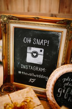 Have your guests upload pics of your wedding with your own hashtag ... picture-framed chalkboard with instagram icon drawn on with chalk.