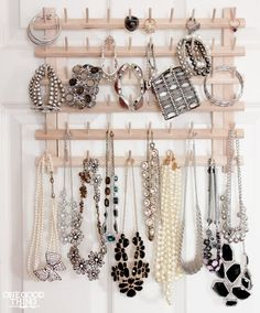 Thread Rack Jewelry Organizer | 14 Easy Decluttering Tricks That Will Transform Your Life | http://www.hercampus.com/diy/14-easy-decluttering-tricks-will-transform-your-life