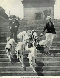 Queen Catherine and her borzoi dogs.