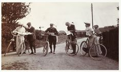 """From the mid-1800s, cycling became a symbol of the """"new woman"""" in many countries, which was also seen in new forms of clothing and new forms of social behavior, and was hailed by women's advocates across Europe as a tool with which to liberate women. Picture: Cyclists looking at maps, c.1900, Kodak Collection/National Media Museum."""