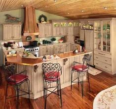 Do-it-yourself glazing of kitchen cabinets to give them an antique or distressed look. Easy and big impact.