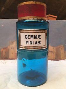 Ancien Flacon POT Pharmacie Apothicaire Verre Bleu Grand Format Tissier Paris   eBay