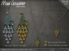 Maxi Gossamer Necklace - Jewelled Peacock - Gold and Silver
