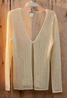 Coldwater Creek Summery Chevron lace one button Ivory cardi summer sweater #ColdwaterCreek #longsleeveonebuttonfront #Casual