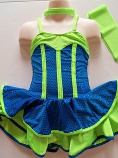 COMPETITION ICE SKATING DRESS Figure Skate Ballet Dance Sparkly Teal & Lime M #FlyingCamelDesigns