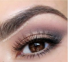 Black, copper, pink eye make up
