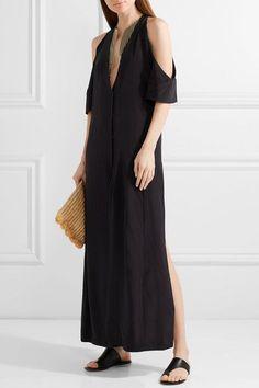 ZEUS+DIONE  Lyre cold-shoulder silk crepe de chine maxi dress  Black silk crepe de chine Concealed snap fastenings through front 100% silk; trim: 45% silk, 30% rayon, 25% metallic fibers; lining: 100% cupro Dry clean