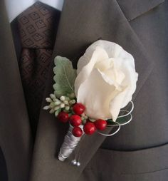 Rosé boutineer | Real Touch Rose Wedding Boutonniere for Groom, Groomsmen White Red ...