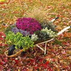Fall Container Garden - Recycle flea-market finds, wooden boxes, garden accessories, kitchen bowls and more into fun container gardens.