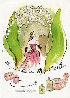 Muguet Des Bois Perfume Ad 1947 Coty by Eric | eBay