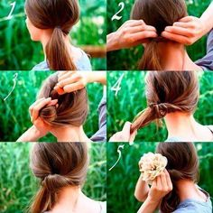 inside out ponytail with flower
