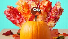 Don't ditch your Halloween pumpkins yet. Decorate a pumpkin turkey to last through Thanksgiving!