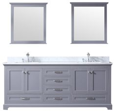 Dukes Double Vanity Dark Grey, Carrera Marble Top, Square Sinks and Mir - Transitional - Bathroom Vanities And Sink Consoles - by Beyond Design & Carrara Marble Countertop, Stone Countertops, Armoire, Soft Close Drawer Slides, Square Sink, Marble Showers, Gray Vanity, Free Interior Design, Marble Top