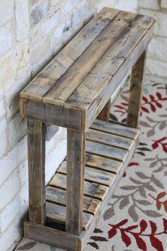 "36 ""Lamellenkonsole # Lamellenkonsole – Holz DIY Ideen – Famous Last Words Wooden Pallet Projects, Wooden Pallet Furniture, Woodworking Projects Diy, Rustic Furniture, Wood Pallets, Furniture Ideas, Woodworking Tools, Pallet Table Outdoor, Table From Pallets"