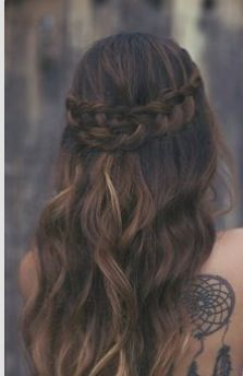 Waterfall braid with curls and a dream catcher tattoo