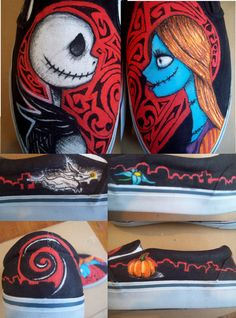 jack skellington, zero and sally vans from Tim burton the nightmare before Christmas. Sally Nightmare Before Christmas, Vans Pintados, Christmas Love, Christmas Themes, Jack Und Sally, Shoe Station, Leather Vans, First Animation, Shoe Art