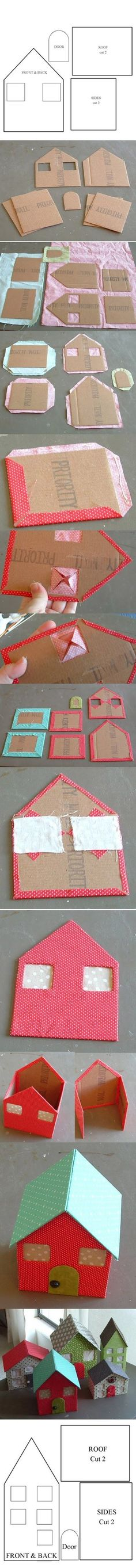 i'm thinking use different fabric and battery tea lights to make a christmas village. to make a How To: Make Your Own Doll House From Cardboard & Fabric Kids Crafts, Diy And Crafts, Arts And Crafts, Cardboard Crafts, Paper Crafts, Diy Projects To Try, Craft Projects, Christmas Crafts, Christmas Decorations