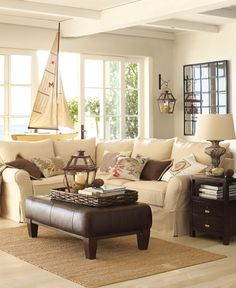 Light nautical living room with espresso accents