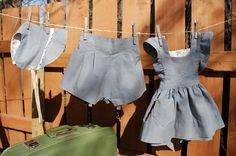 Little grey pinafore -  Vintage inspired Toddler dress - Size one dress - Flower girl pinafore, garden wedding - OOAK. $28.00, via Etsy.