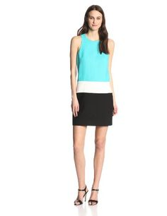 4.collective Women's Basketweave Colorblock Sleeveless Shift Dress