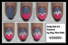 Sweetheart lace tips nail art design by heynicenails