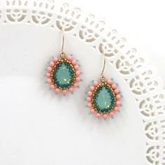 Excited to share the latest addition to my #etsy shop: Crystal teardrop earrings, Wife jewelry, Turquoise and coral earring, Peach earring, Turquoise earrings dangle, Victorian jewelry, Wife gift http://etsy.me/2tt6boq