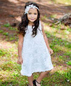Unik White Petal A-Line Dress - Toddler & Girls Girls Party Dress, Toddler Girl Dresses, Toddler Outfits, Kids Outfits, Flower Girl Dresses, Flower Girls, Toddler Girls, Kids Formal Wear, New Moms