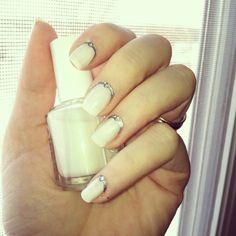 January winter nails, essie marshmallow and rhinestones ;)