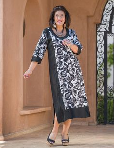 "Kasbah+black/white+linen+floral+dress,+45""+or+51""+length"