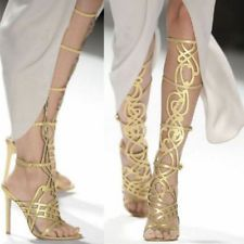 Gladiator Women Leather Knee High Sandals Shiny Stiletto Heels Party Prom Pumps