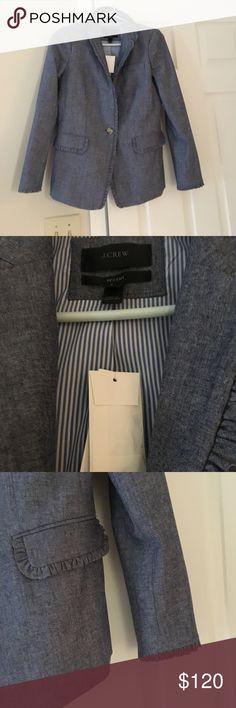 Chambray Blazer Stylish JCrew Chambray blazer.  New with tags. Classic style, ruffle trim detail. J. Crew Jackets & Coats Blazers