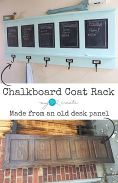 Chalkboard Coat Rack, repurposed from desk panel  MyLove2Create for MyRepurposedLife.com ohhh I can do this with that closet door I have in the garage!
