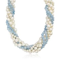 "Aquamarine and 5.5-8mm  Cultured Pearl Torsade Necklace With Sterling Silver Clasp. 18"" $213.50"