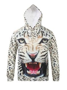Cool Long Sleeve Horrible Leopard Pattern 3D Painted Hoodie