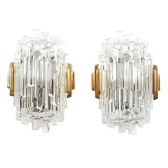 Expressive French Block Glass Sconces | From a unique collection of antique and modern wall lights and sconces at http://www.1stdibs.com/lighting/sconces-wall-lights/
