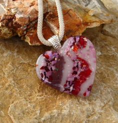 Valentine Jewelry Pink Heart  Fused Glass Pendant  by GlassCat, $32.00