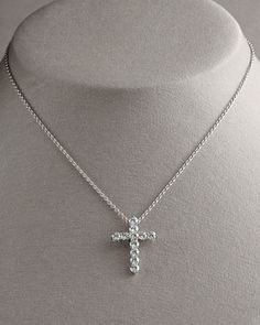 Tiffany co diamond cross necklace platinum large model 171 tcw diamond cross pendant necklace large by roberto coin at neiman marcus mozeypictures Image collections