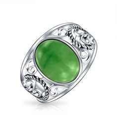 Bling Jewelry Bling Jewelry 925 Silver Dyed Green Jade Filigree Scroll... ($37) ❤ liked on Polyvore featuring jewelry, rings, green, boho jewelry, boho silver rings, rope ring, jade ring and vintage style rings