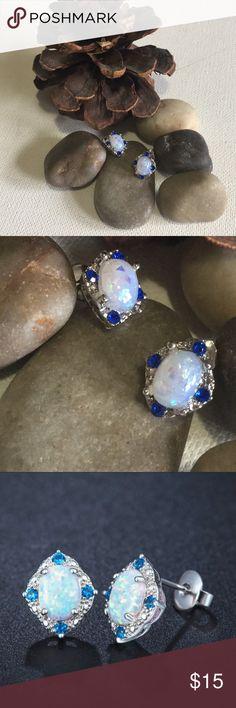 White Opal Rhombic Earrings Gorgeous .925 sterling silver white oval opal post  earrings with gorgeous bright blue gemstones in four corners! Great gift item! Jewelry Earrings