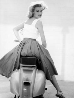 Vintage girl, vintage skirt, vintage scooter