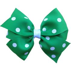 Green & white polka dot hair bow ($3.75) ❤ liked on Polyvore