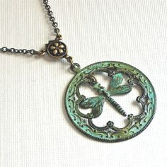 Patina Dragonfly Necklace   Pendant Dragonfly by mcstoneworks