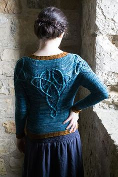 Crochet Vests Ravelry: Kells pattern by Lucy Hague - This is the fourth, and final, design in Illuminated Knits, a series of patterns inspired by illuminated Celtic manuscripts, using beautiful shades of Malabrigo yarn. Baby Knitting Patterns, Knitting Stitches, Free Knitting, Crochet Patterns, Ravelry, Vest Pattern, Pulls, Knit Crochet, Crochet Vests
