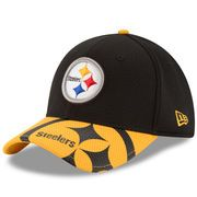 786b0b3c8f8 Men s New Era Pittsburgh Steelers Black Gold Chrome Tech 39THIRTY Flex Hat