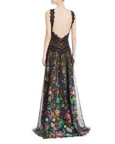 Tadashi Shoji Chiffon Halter Open-Back Floral-Motif Gown | Neiman Marcus